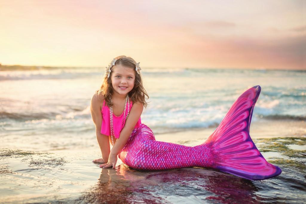 Beach mermaid photography in San Diego