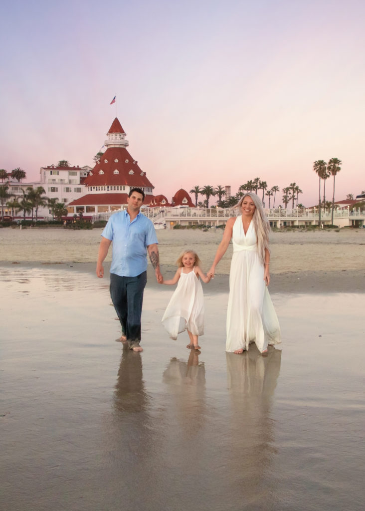 Family walking on the beach in Coronado with the Hotel Del in the background