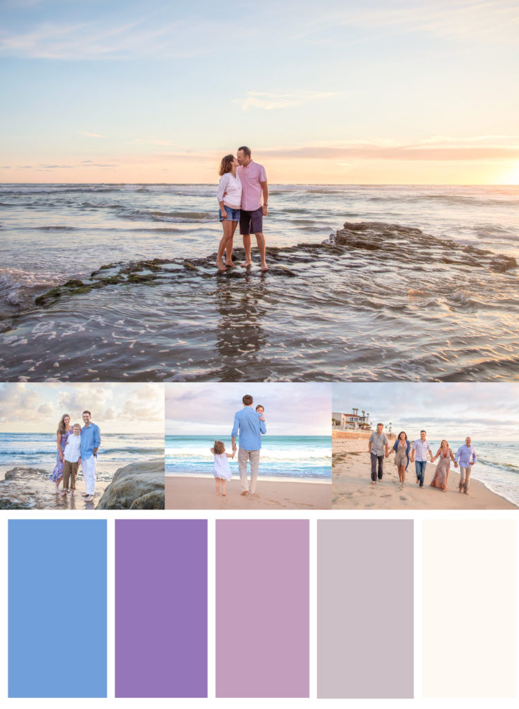 Blue, purple, pink and white beach outfits