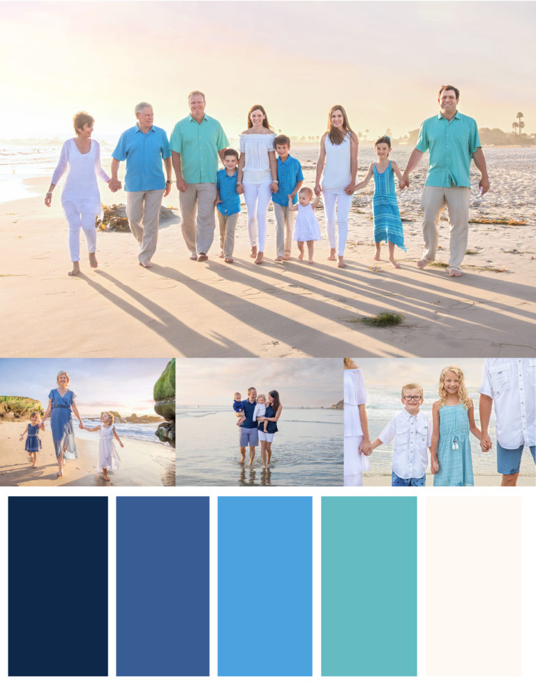 Blue, white and navy beach outfits