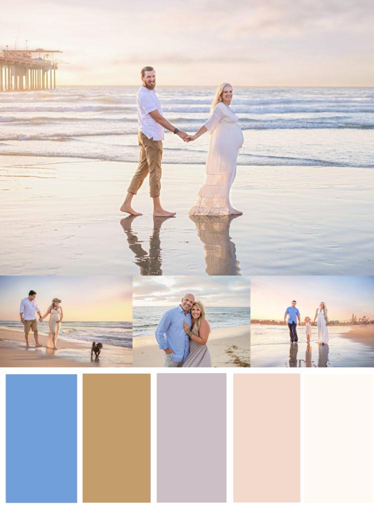 Blue, tan, white beach outfits