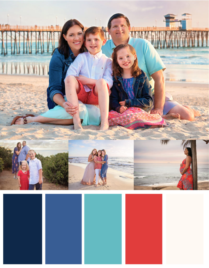 Coral, red, blue and white beach outfits