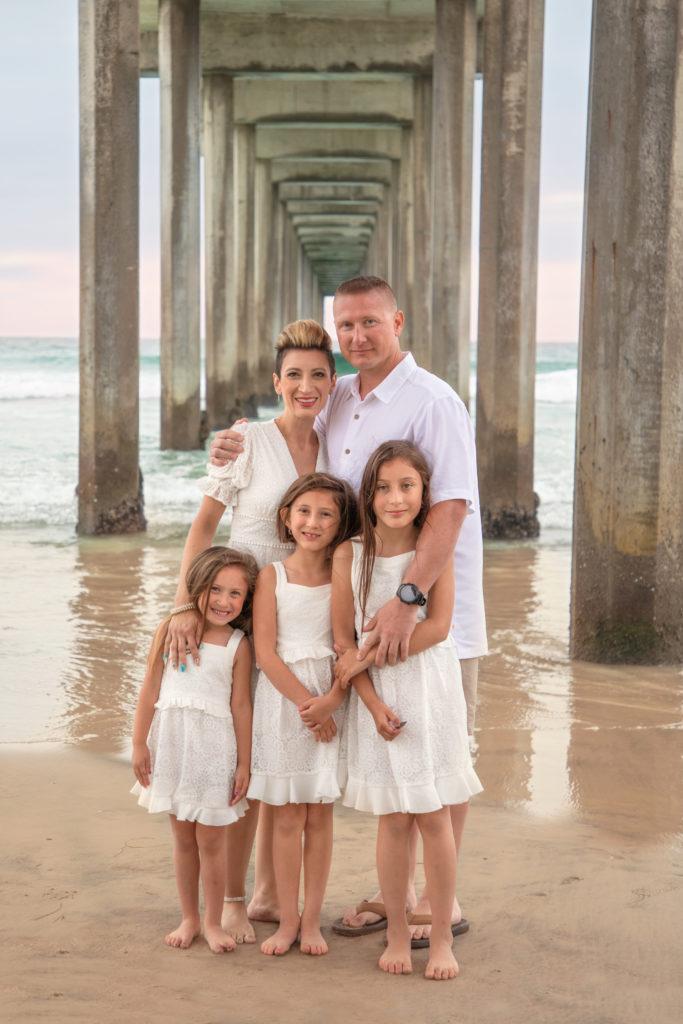 Family photo at Scripps Pier in La Jolla