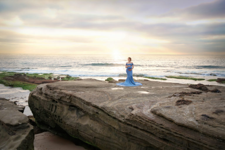 Winter maternity photo shoot at Windansea Beach at sunset