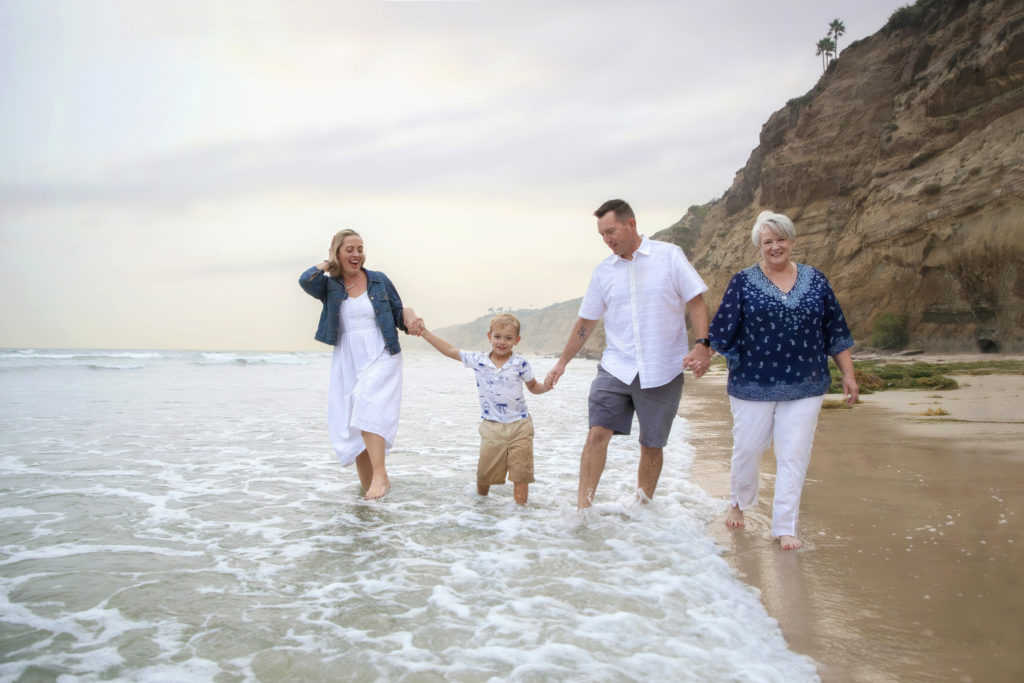 Family holding hands and walking along the beach in San Diego.