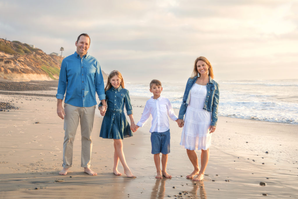 Family photo shoot at South Ponto Beach in Carlsbad.